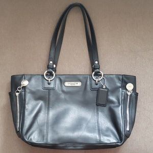 COACH black leather zipper tote